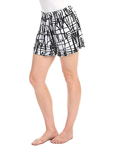 Made By Johnny WB1222 Womens Printed Elastic Waist Comfy Shorts L Crayon_Black