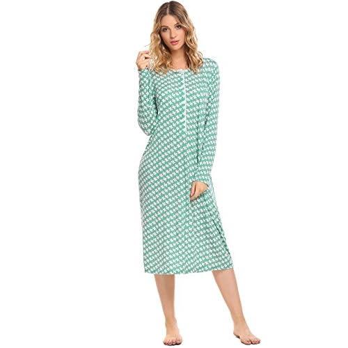 Wholesale Ekouaer Women's Cotton Knit Nightgown Long Sleeve Sleep Dress Lounge Dress for sale