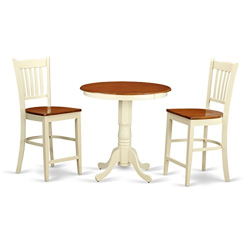 East West Furniture EDGR3-WHI-W 3 Piece High Top Table and 2 Counter Height Dining Chair Set ()