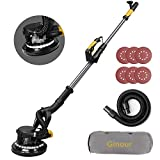 Ginour 6.5A Electric Drywall Sander With Vacuum Attachment, 2 LED Light & Variable Speed, Extendable Handle, Long Dust Hose, Storage Bag, 6 Sanding Discs