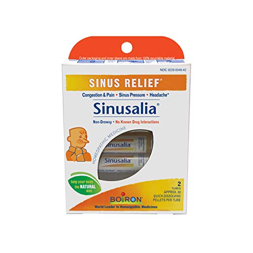 Boiron Sinusalia, 2 Tubes, (80 Pellets per Tube), Homeopathic Medicine for Sinus Relief (Best Pain Reliever For Sinus Infection)