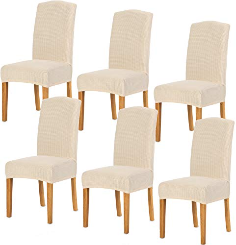 TIANSHU Stretch Chair Cover for Home Decor Dining Chair Slipcover (6 Pack, Ivory) (Cheap Dining Chair)