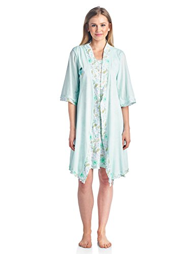 Casual Nights Women's Sleepwear 2 Piece Nightgown and Robe Set - Mint - Large