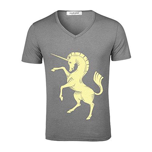 Yellow Unicorn Men T Shirts Graphic V neck Grey (Six Billion Dollar Man)