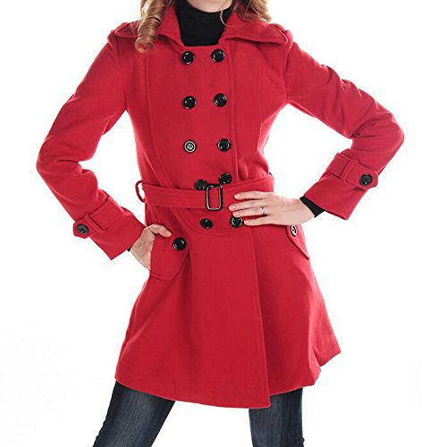 Women's Autumn Winter Double-Breasted Long Woolen Coat with Belt(XL, Red)