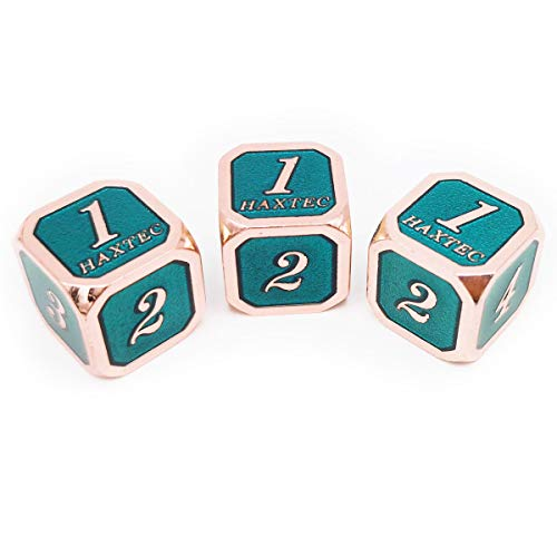 (Haxtec 3 Pack Metal Dice DND Dice D6 Set for Dungeons and Dragons D&D RPG MTG Table Games-Pack of 3 (Copper Teal-Rounded))