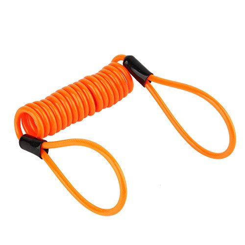 3.5mm Lock Reminder Cable Lock Dual Loop Safety Cable, Motorcycle Bike Atv Scooter Disc Lock Security Reminder Cable Tool, Orange -