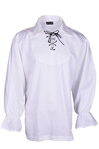 Camicia uomo Bares Renaissance casual, da estate, pirata costume medievale da uomo bianco S.