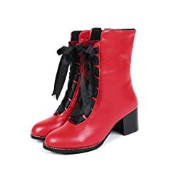 Women Thick Heel Ankle Boots Classic Lace-up Zipper Solid Color Walking Shoes Female Outdoor Round Toe Boots              Upper Material: PU       Boot Height: Mid-Calf       Closure Type: Lace-Up       Boot Type: Basic       ...