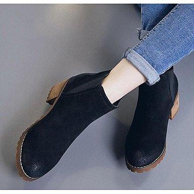 pwne Donna Primavera tacchi Comfort PU Casual Chunky Heel marrone chiaro nero Black US8 / EU39 / UK6 / CN39
