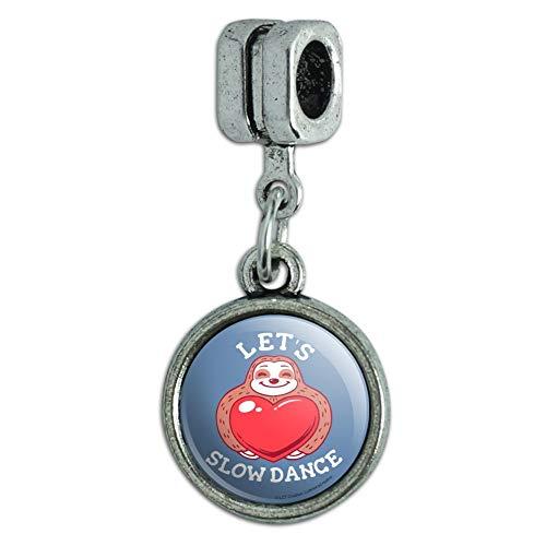 (GRAPHICS & MORE Let's Slow Dance Sloth Heart Love Funny Humor Italian European Style Bracelet Charm Bead )
