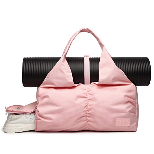 Travel Yoga Bag for Women, Carrying Workout Gear, Makeup, and Accessories, Shoe Compartment and Wet Dry Storage Pockets, Fun Medium,Pink (Atafa Yoga Mat Bag)