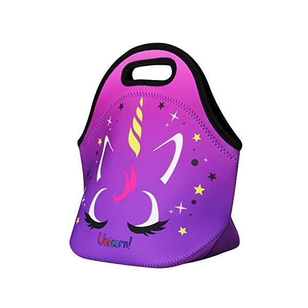Cute Unicorn Lunch Bag for Kids, Waterproof Insulated Neoprene Lunch Tote with Zipper for School Work Outdoor (Purple002… 10