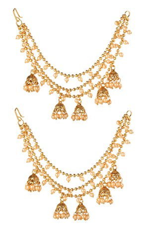 Bindhani Bollywood Traditional Ethnic Wedding Party Wear Bridal Brides Bridesmaid Fashion Long Chain Bahubali Jewelry Indian Style Gold Plated Jhumka Jhumki Earrings For Women
