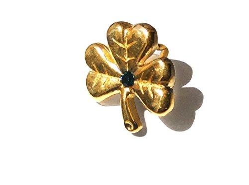 Irish Gold Shamrock Lapel Pin with Green Emerald Stone and St Patrick Prayer Card