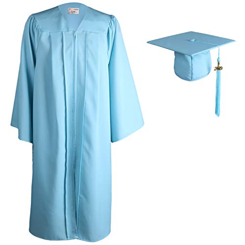 OSBO GradSeason Matte Graduation Gown Cap Tassel Set for High School and Bachelor (Sky, - Tassel Mens