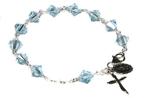 (Womens Rosary Bracelet made w/Aquamarine Blue Swarovski Crystals (March) - Confirmation, RCIA, Easter, Birthday & more)