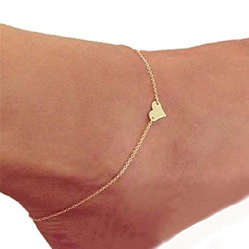 Robiear Girl Fashion Heart Ankle Bracelet Chain Beach Foot Sandal Jewelry
