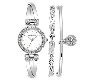 Anne Klein Silvertone Crystal Accented Bangle Bracelet Set