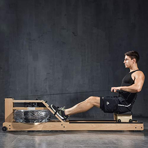 BATTIFE Rowing Machine with Bluetooth Monitor Oak Wood Water Rower Machine for Home Use Training Equipment Make Home Gym