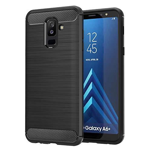 MoKo Samsung Galaxy A6 Plus 2018/J8 2018/J8 Case, Soft TPU Bumper Cover Carbon Fiber Design Anti-Scratch Slim Back Panel Shock Absorption Shell Fit with Samsung Galaxy A6 Plus 2018/J8 2018/J8 - Black