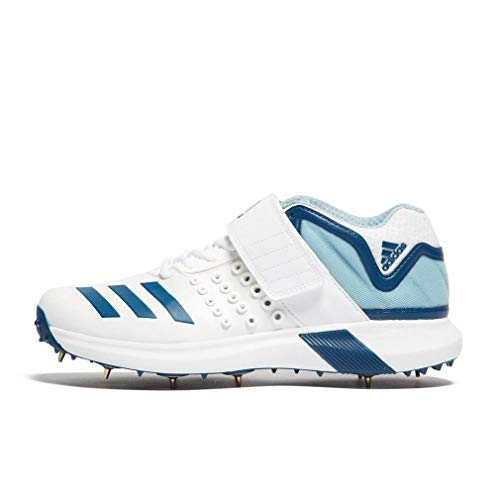 (adidas Adipower Vector Mid Mens Adult Cricket Spike Shoe White/Blue - UK 8 )