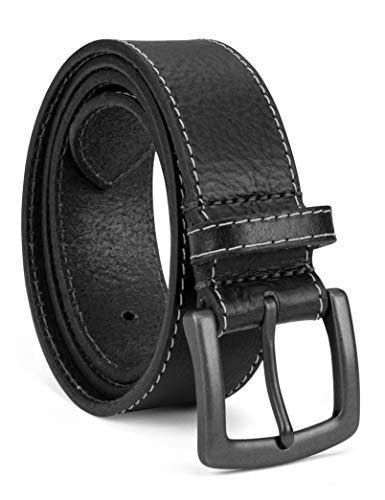 Colonial Belt Company Men's Made in The USA Casual Leather Jean Belt, black/Milled contrast stitch, 42