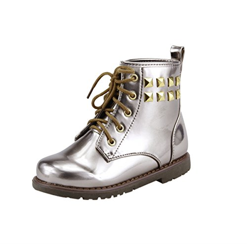 Price comparison product image Unisex Boy's or Girl's Metallic Ankle Boots Booties Compact Punk Style Toddler Little Kids (09, Metallic Silver)