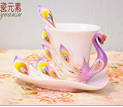 Elegant Handpainted Collectable Fine Arts China Porcelain Tea Cup and Saucer Coffee Cup Peacock Theme Romantic Creative Present for Wedding/christmas Three Sets