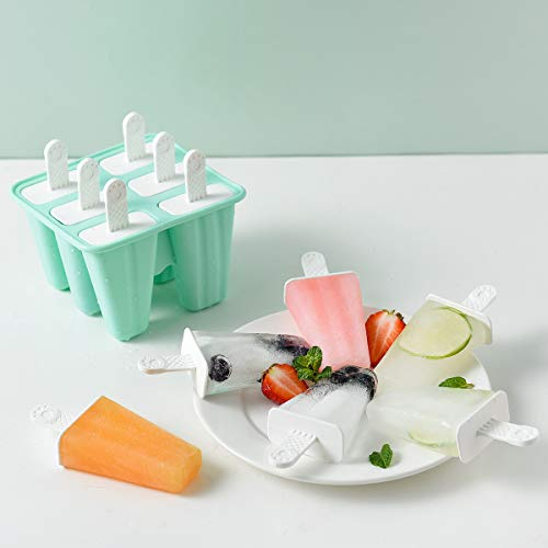 Helistar Popsicle Molds 6 Pieces Silicone Ice Pop Molds BPA Free Popsicle Mold Reusable Easy Release Ice Pop Maker with Silicone Funnel and Cleaning Brush, Green