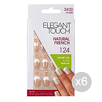 Elegant Touch Set 6 uñas postizas naturales 124 francés corto ataúdes: Amazon.es: Salud y cuidado personal