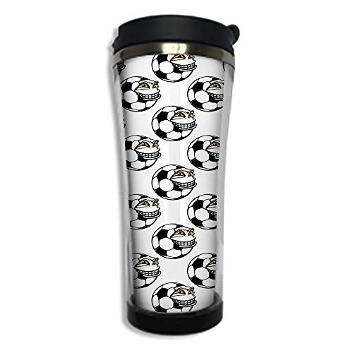 Travel Coffee Mug 3D Printed Portable Vacuum Cup,Insulated Tea Cup Water Bottle Tumblers for Drinking with Lid 14.2oz(420 ml)by,Soccer,Cartoon Football Mascot with Happy Funny Face Expression Sports G