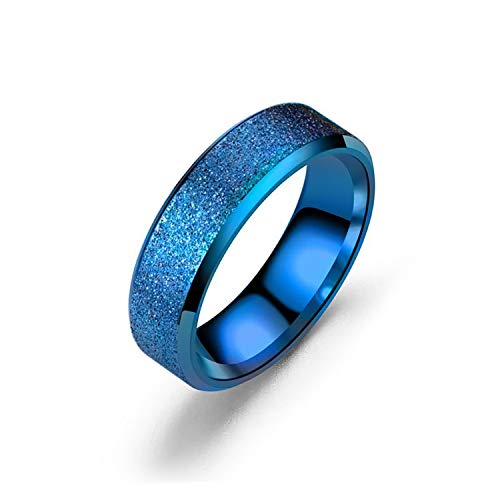DLNCTD Rose Gold Stainless Steel Rainbow Pride Rings Female Jewelry Trendy Minimalist Blue Colorful Ring Love Couple Anniversary Aneis,9,Blue Ring