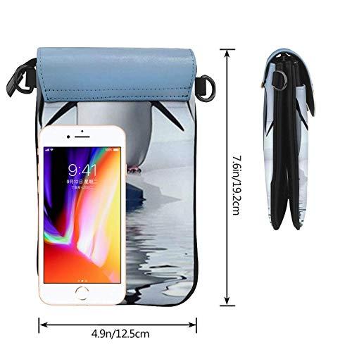 HYJUK Mobiltelefon crossbody väska pingvin kvinnor PU-läder mode handväska med justerbar rem