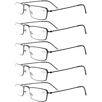 4966f07f67 Eyekepper 5-Pack Stainless Steel Frame Half-eye Style Reading Glasses  Readers Black +3.0