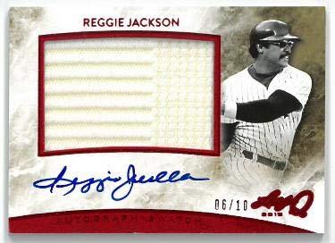 - Reggie Jackson signed 2015 Leaf Q Game Used Jersey Relic Patch Baseball Card #AM-RJ1- LTD 6/10 - MLB Autographed Baseball Cards