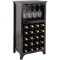 SUPER DEAL Wood Wine Cabinet Modular Wine Rack 20 Bottle Holder Display Storage Shelf with Glass Holder Free Standing Wine Rack, Espresso