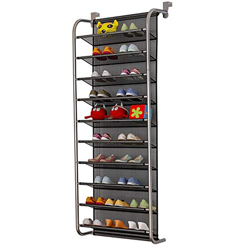 TZAMLI 10-Tier Shoe Rack Over The Door Shoe Organizer Hanging Shoe Storage Shelf Customized Strong Metal Hooks for Closet Pantry (Black, 10 Tier) (Mounted Shoe Closets Wall For Racks)