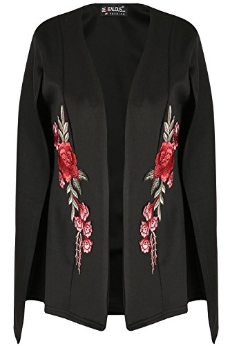 Be Jealous Womens Ladies Rose Embroidered Shawl Collared Open Placket Blazer Coat Cape Top