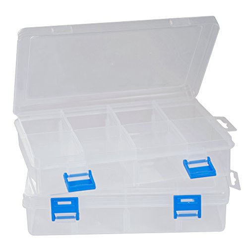 Small Plastic Storage Box [2-Pack] with 8 Compartments and Adjustable Dividers Clear Organizer Boxes for Beads, Jewelry, Small Parts, Crafts and More
