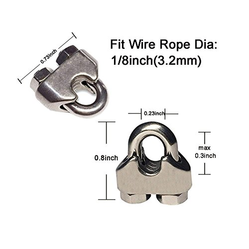 Rannb M3 Stainless Steel 304 Wire Rope Cable Clip Simplex Clamp Single Post Style for 1//8 Diameter Wire Cable 20Pcs