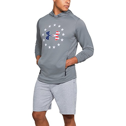 Under Armour Men's Freedom Tech Terry Hoodie, Steel /White, Large (Mens Under Armour Graphic Tees)