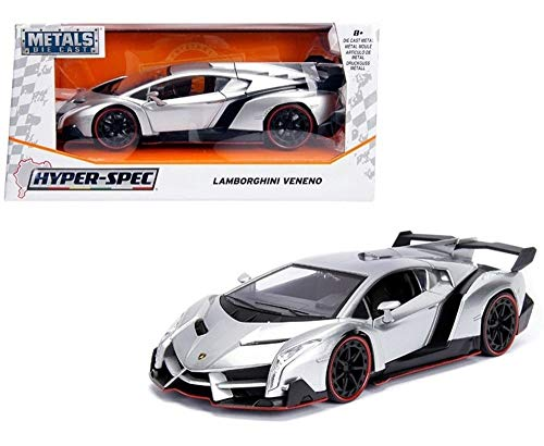 Jada Lamborghini Veneno Candy Silver 1/24 Diecast Model Car (Kit Cars 18 1)