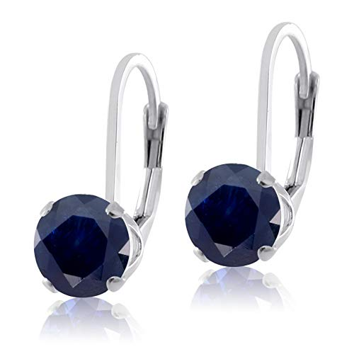 Campton Sterling Silver .925 Lab Ruby Sapphire or Emerald LeverBack Earrings Round 6mm | Model ERRNGS - 13799 |