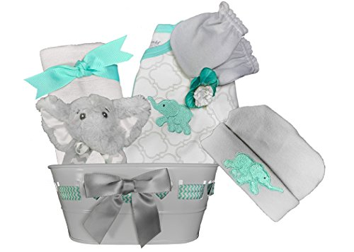 Baby Shower Gift Basket for a Boy - Elephant 6 Piece Newborn Gift Set by Sunshine Gift Baskets