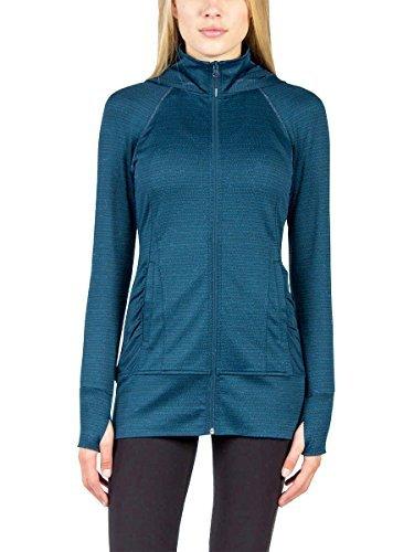 Mondetta Women's Long Jacquard Hooded Knit Jacket (Teal, Medium) (Activewear Jacket)