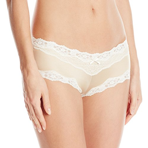 Maidenform Women's Cheeky Micro Hipster with Lace, Latte Lift/Ivory, Large/7