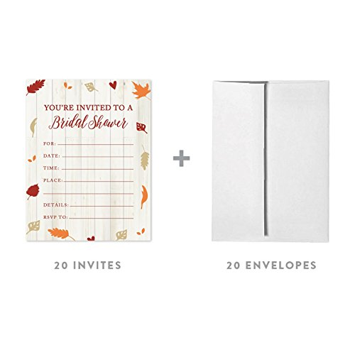 Leaves Fall Invitation Wedding (Andaz Press Fallin' in Love Autumn Fall Leaves Wedding Party Collection, Blank Bridal Shower Invitations with Envelopes, 20-Pack)