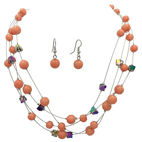 Gypsy Jewels Multi Row Beaded Illusion Wire Lightweight Necklace and Dangle Earring Set (Peach & Vitrail (Chunky Peach)