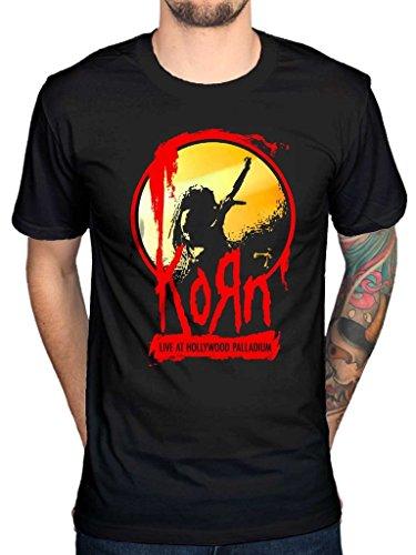 AWDIP Men's Official Korn Live At Hollywood Palladium T-Shirt Nu Metal Alternative Rock Music (Palladium T-shirt)